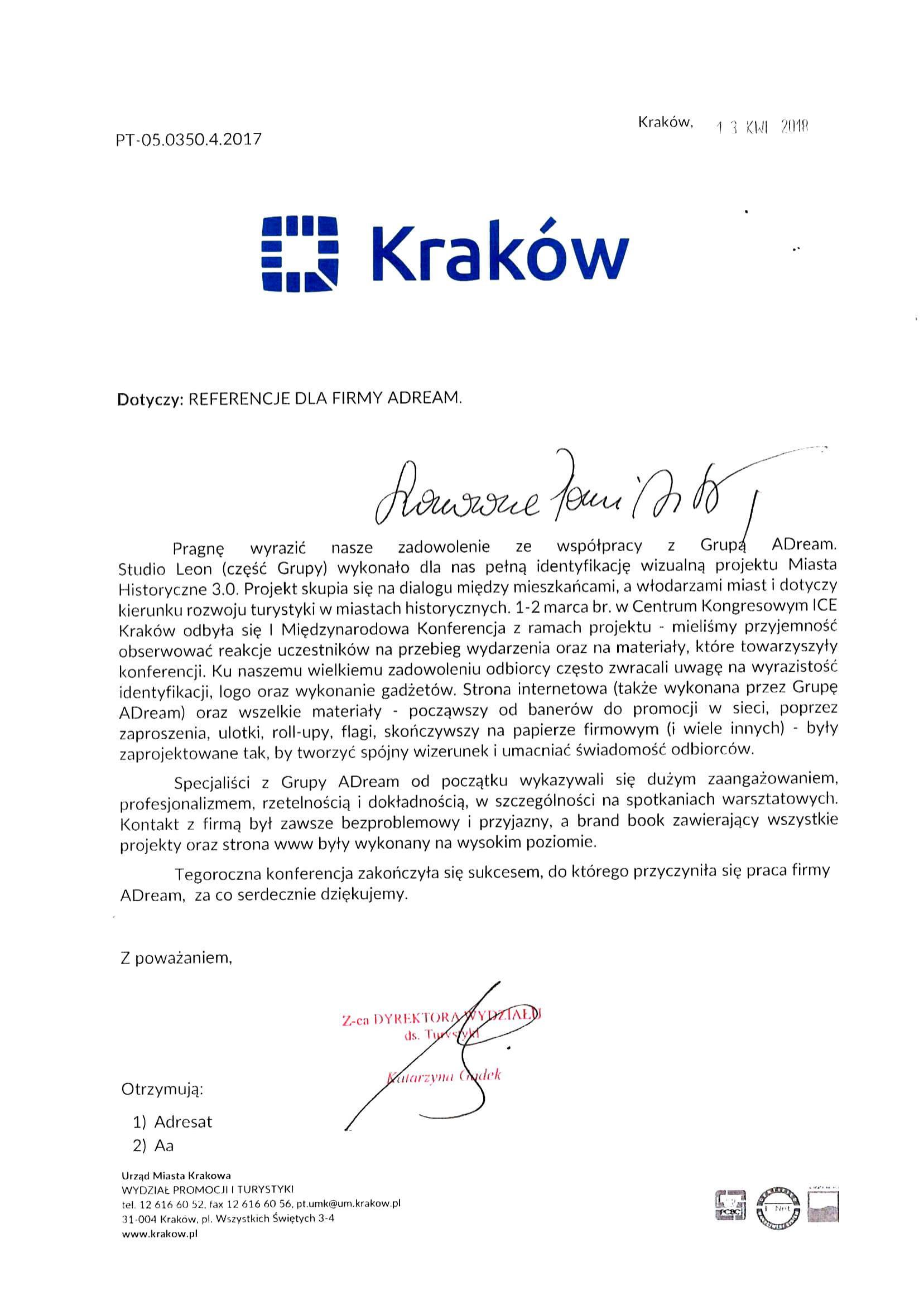 Urząd Miasta Krakowa Wydział Promocji i Turystyki