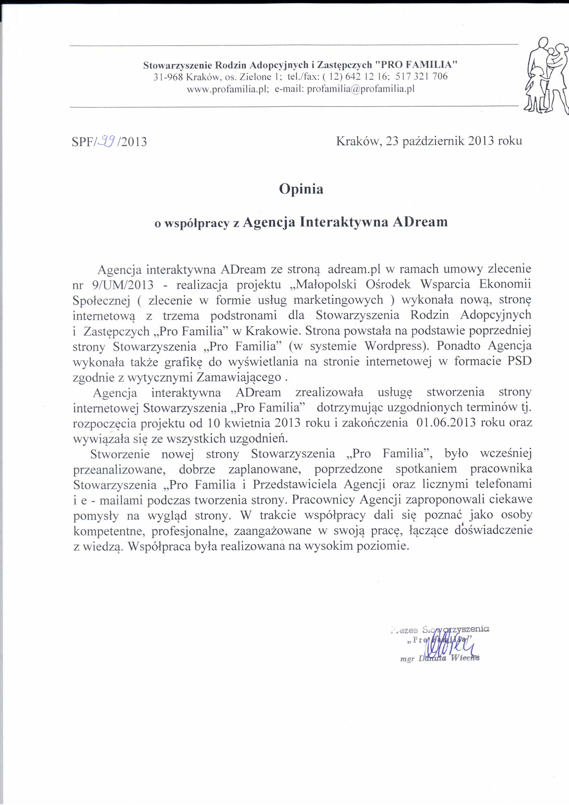 """Stowarzyszenie Rodzin Adopcyjnych i Zastępczych """"PRO FAMILIA"""""""